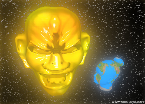 Input text: the head has a fire texture. the ground is invisible. the sky has a starfield texture. a second head is facing the head. the second head has an earth texture. the head is facing the second head. the second head is matte.