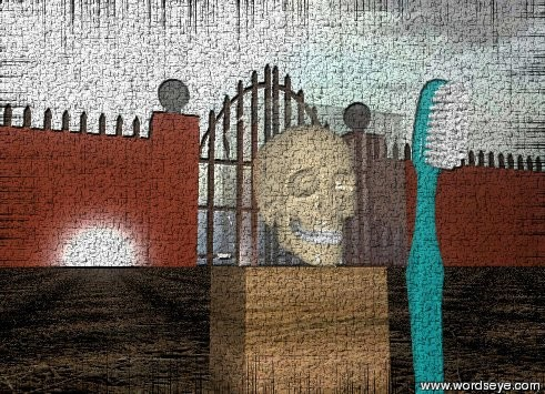 Input text: the skull is inside the glass cube. the ground is dirt.  The glass cube is on the wooden block.   The huge toothbrush is in the ground. It is 5 feet tall. It is 6 inches to the right of the block.   The camera light is very dark.  It is cloudy.  The very tiny gate is behind the block.