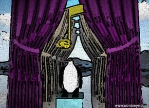 the watery block is on the tall shiny white mountain range. the block is in front of the shiny purple curtain. the curtain is on the mountain range. the tan curtain is two feet behind the curtain.  the  beige curtain is two feet behind the tan curtain. the lavender curtain is two feet behind the beige curtain. the pink curtain is two feet behind the lavender curtain.  The small penguin is on the block.  it is partly cloudy.  The gold musical note is 4 inches above the penguin.