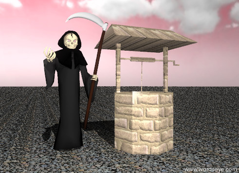 Input text: the ground is stone. the sky is chartreuse. it is partly cloudy.  the unreflective grim reaper is standing next to a well. the well is brick.