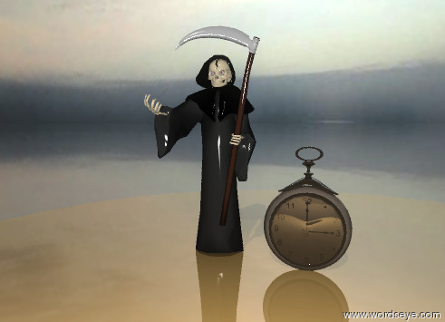 Input text: The very tiny grim reaper is next to the shiny pocket watch. the pocket watch is on the table. the table is shiny. The ground is shiny.  It is cloudy.