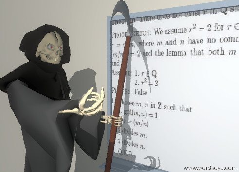 Input text: the unreflective whiteboard is on the long cream wall. the front of the whiteboard has an image-112 texture.  the unreflective grim reaper is -18 inches to the left of the whiteboard. the grim reaper is facing right. the ground is tile.