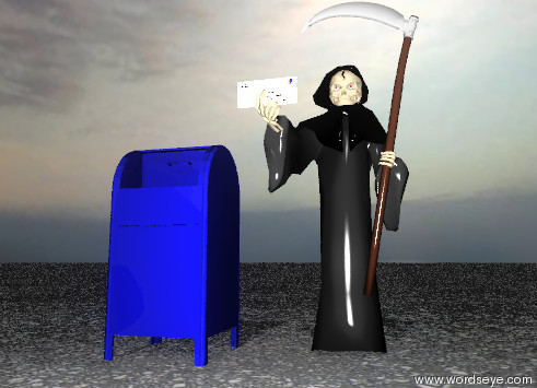 Input text: the big  envelope is in the hand of the grim reaper.  the big  mailbox is one foot  to the left of the grim reaper.   the ground is asphalt.  it is cloudy.