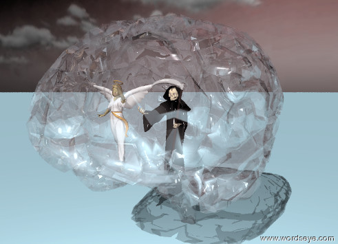 Input text: the tiny grim reaper is inside the  huge pink glass brain. it is one foot above the bottom of the brain.  The tiny angel is next to the grim reaper.  The sky is dark red. It is partly cloudy.  The ground is sky blue.