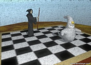the extremely tiny grim reaper is on the chess board. the chess board is on the burlwood table. a extremely tiny ghost is on the chess board.  The checkerboard texture is on the chess board. the texture is 44 inches wide. the texture is 35 inches deep.  The grim reaper is facing the ghost.  the grim reaper is to the left of the ghost. the grim reaper is behind the ghost.  The ground is shiny.