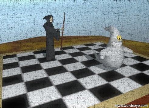 Input text: the extremely tiny grim reaper is on the chess board. the chess board is on the burlwood table. a extremely tiny ghost is on the chess board.  The checkerboard texture is on the chess board. the texture is 44 inches wide. the texture is 35 inches deep.  The grim reaper is facing the ghost.  the grim reaper is to the left of the ghost. the grim reaper is behind the ghost.  The ground is shiny.