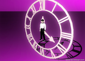 the huge pink clock. The tiny man-vp24795 is in the clock. The sky is purple the ground is purple.