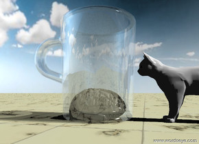 "The large glass cup. the small brain is in the cup. the ""brian"" texture is on the brain. the texture is 1 inches wide. it is partly cloudy. the small white cat is in front of the cup. the cat is facing back. the ground is tile. the camera light is black."