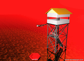 A very tiny tower is on the ground. A boat is 8 feet in front of the tower. A  woman is 3 feet in front of the tower. She is 16 feet above the ground.  She is facing downward. The ground is gold water. The sky is red.