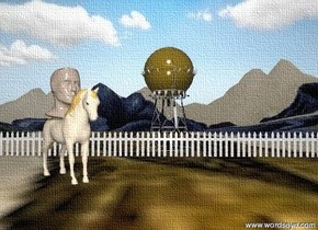 The huge head is on the tan horse. The horse is on the extremely tall mountain range. it is partly cloudy. The fence is 10 feet behind the horse. the fence is 50 feet long. The tower is behind the fence. the flower texture is on the mountain range.  The horse is to the left of the tower.  The tower is dark orange.  The horse is facing the southeast.