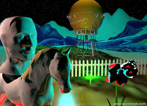 The huge head is on the tan horse. The horse is on the extremely tall mountain range.  The fence is 10 feet behind the horse. the fence is 50 feet long. The tower is behind the fence. the flower texture is on the mountain range.  The horse is to the left of the tower. The very large plant is two feet to the right of the horse.  The tower is dark orange.  The horse is facing the southeast.  It is midnight. The cyan illuminator is above the horse. it is two feet to the right of the horse.  The very large orange illuminator is above the tower.  The green illuminator is in front of the fence.  The pink illuminator is above the head. it is two feet to the left of the head.  the camera-light is black.  the red illuminator is under the horse.  The enormous cyan illuminator is 50 feet above the tower. it is 100 feet behind the tower.  The ground is shiny. the head is shiny. the tower is shiny. the flower is shiny. the horse is shiny.