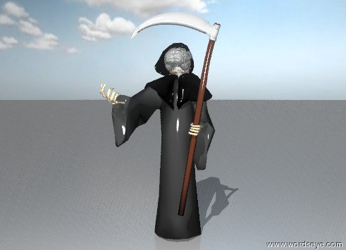 Input text: the skull of the grim reaper is invisible. the jaw of the grim reaper is invisible. the brain is six inches below the top of the grim reaper. it is -20 inches behind  the grim reaper.  the sky is partly cloudy. the ground is steel.
