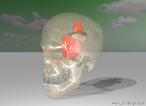 the heart is five inches above the bottom of the glass skull. the heart  of the heart is red. the sky is green. it is partly cloudy.