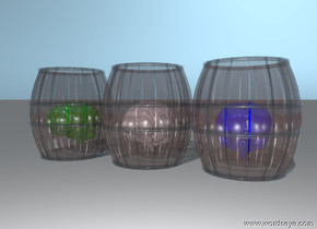 there is a large pink brain inside a glass barrel.   a second glass barrel is next to the first glass barrel. a large green  brain is inside the barrel.  a third glass barrel is next to the second glass barre. a large blue  brain is inside the barrel.