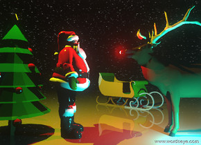 The Santa Claus is to the right of the christmas tree. The Santa Claus is facing right. The elk is facing left. The elk is two feet to the right of the Santa Claus. The ground is shiny.  It is night.  The camera light is black. The small cyan illuminator is in front of the elk.  the tiny red sphere is to the left of the elk. It is 4.6 feet above the ground.  The tiny tiny red illuminator is to the left of the sphere.  The green sleigh is 5 feet behind the santa claus.    it is to the right of the santa claus. it is facing the southeast.  The small yellow illuminator is 4 feet above the tree.
