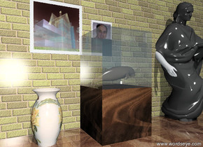 the zamchick picture and the  large scene-6005 picture is on the wall. the pictures are 5 inches apart.  the pictures are 3 feet above the ground.  The large glass cube is on the large wood cube. the wood cube is in front of the zamchick picture.   The ground is shiny parquet.  The tiny manatee is inside the glass cube. it is facing right.  the wall is 20 feet wide.  The statue is 2 feet to the right of the wood cube.  The flower vase is 12 inches to the left of the wood cube.