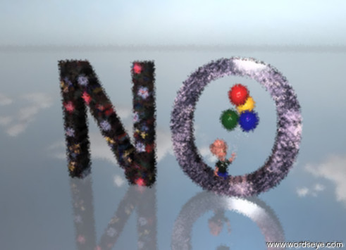 "Input text: the boy is inside the giant ""O"". the ""O"" is a floral pattern. The Giant  ""N"" is 1 foot to the left of the ""O"". the ""N"" is a floral pattern. the ground is glass. It is partly cloudy. The sun is red."