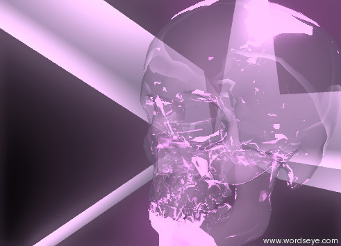 Input text: the violet glass skull is inside  the giant silver tetrahedron. the violet illuminator is inside the skull.