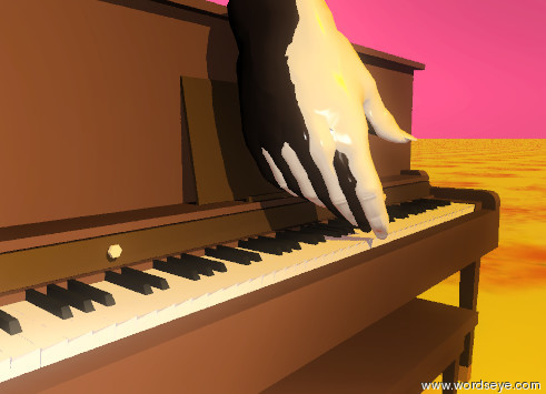 Input text: the huge ivory hand is on the WHITE_KEYS of the piano. the huge ebony hand is on the BLACK_KEYS of the piano. the ground is fire. the sky is crimson. the sun is orange.