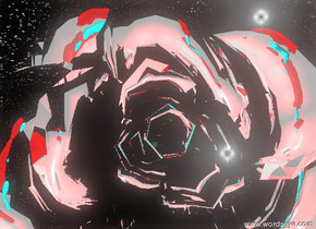 the cyan skull is 5 feet in front of the giant silver rose. the rose is facing down. the skull is one foot above the ground. the skull is facing the rose. the second giant rose is 5 feet in front of the skull. the second giant rose is facing up. the sky has a starfield texture. the red illuminator is behind the skull. it is two feet above the skull.