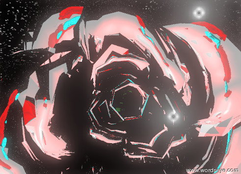 Input text: the cyan skull is 5 feet in front of the giant silver rose. the rose is facing down. the skull is one foot above the ground. the skull is facing the rose. the second giant rose is 5 feet in front of the skull. the second giant rose is facing up. the sky has a starfield texture. the red illuminator is behind the skull. it is two feet above the skull.