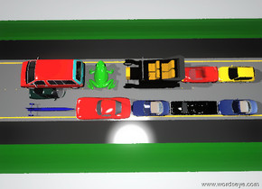 the small red car is on the giant freeway. the small blue car is on the giant freeway. the small blue car is 2 feet to the right of the small red car. the column of 3 small cars is 6 feet behind the small red car. the small blue car is facing back. the column of 4 small cars is behind the small blue car. the column of 4 small cars is facing back. the enormous green frog is behind the small red car. the frog is facing left.