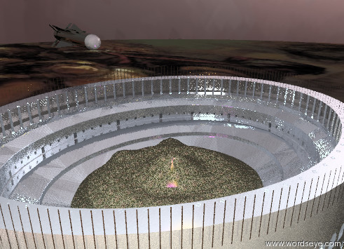 Input text: the metal coliseum is in the giant grass hill. the shiny missile is 4 feet above the coliseum. It is 4 feet to the left of the coliseum. it is facing the coliseum. The sky is bright red. the ground is fire. it is very cloudy. the missile is 10 feet tall. the giant bright purple light is 50 feet above the coliseum. The large bright orange light is ten feet below the purple light. it is 4 feet to the right of the purple light. the blue light is inside the coliseum.