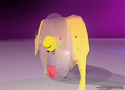 Input text: the flat red glass cup is in front of the flat pink glass sphere. The flat tiny orange glass animal is behind the glass sphere. it is facing left. The sky is dark purple. The ground is ice. The green light is ten feet in front of the sphere. The red light is 4 feet above the green light. the gold hand is 4 inches below the top of the sphere. the nail of the hand is black. the dark blue light is 5 feet behind the animal.