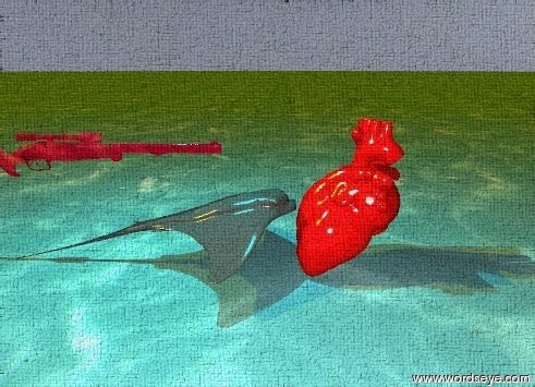 Input text: the sting ray is in front of the giant red heart. the sting ray is facing the heart. the ground is water. the sky is baby blue. the cyan illuminator is 3 feet above the ray. the stained glass rifle is 2 inches above the sting ray. it is facing the heart. it is 1 foot in front of the heart. the sun is orange.