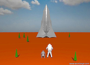The sky is partly cloudy. The ground is orange red. The sun is very bright.  A large space ship is on the ground. It is facing up. A point light is 100 feet to the left of the space ship. it is 50 feet above the space ship. A fat fir tree is 50 feet to the left of the space ship. It is 10 feet in front of the space ship. It is 20 feet tall. A  fat fir tree is 40 feet to the left of the space ship. It is 20 feet tall.  A fat fir tree is 3 feet to the left of the space ship. It is 100 feet in front of the space ship. It is 15 feet tall. A fat  fir tree is 50 feet to the right of the space ship. It is 10 feet behind the space ship. It is 20 feet tall.  A large astronaut is 200  feet in front of the space ship. It is facing the space ship. A large chimpanzee is 0.5 foot to the left of the astronaut. It is facing the space ship. A fat fir tree is 20 feet to the left of the chimpanzee. It is 8 feet tall.  A fat fir tree is 15 feet to the right of the astronaut. It is 5 feet in front of the astronaut. It is 8 feet tall.  A point light is 50 feet to the left of the astronaut. It is 50 feet above the astronaut.