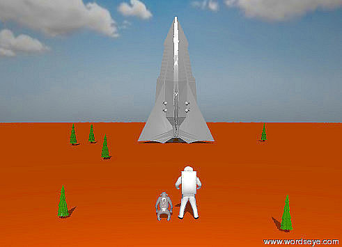 Input text: The sky is partly cloudy. The ground is orange red. The sun is very bright.  A large space ship is on the ground. It is facing up. A point light is 100 feet to the left of the space ship. it is 50 feet above the space ship. A fat fir tree is 50 feet to the left of the space ship. It is 10 feet in front of the space ship. It is 20 feet tall. A  fat fir tree is 40 feet to the left of the space ship. It is 20 feet tall.  A fat fir tree is 3 feet to the left of the space ship. It is 100 feet in front of the space ship. It is 15 feet tall. A fat  fir tree is 50 feet to the right of the space ship. It is 10 feet behind the space ship. It is 20 feet tall.  A large astronaut is 200  feet in front of the space ship. It is facing the space ship. A large chimpanzee is 0.5 foot to the left of the astronaut. It is facing the space ship. A fat fir tree is 20 feet to the left of the chimpanzee. It is 8 feet tall.  A fat fir tree is 15 feet to the right of the astronaut. It is 5 feet in front of the astronaut. It is 8 feet tall.  A point light is 50 feet to the left of the astronaut. It is 50 feet above the astronaut.