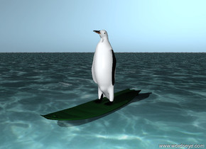 a penguin is on a surfboard. the surfboard is on the ocean