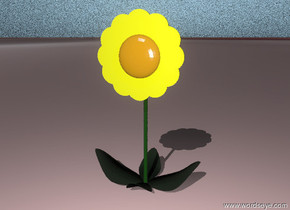 A yellow flower. The ground is white marble. The sky is white marble.