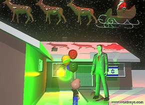 three deer are on the house. the deer are facing left. the ground is white. the wooden sled is to the right of the three deer. the wooden sled is facing left. santa is in the sled. the DUD of the sled is wood. the boy is in front of the house. the businessman is 10 feet in front of the FDOORS of the house. it is night. the giant green illuminator is in front of the businessman. it is to the left of the businessman. the giant red illuminator is 4 feet above santa. the roof of the house is shiny. the sun is dark. the boy is inside the giant green illuminator. the boy is facing northeast. the businessman is facing southwest. the white mountain is 100 feet behind the house. the FURBOOTR of the santa is invisible. the FURBOOTL of the santa is invisible. the large israel is 8 feet behind the businessman. the large israel is 2.5 feet above the ground. the large israel is 3 feet to the right of the businessman. the roof of the house is white. th gold light is 8 feet to the left of the israel.