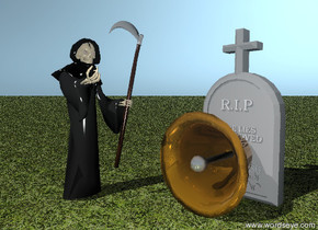 death is next to the huge bell. the bell is facing down. death is facing the bell. the big gravestone is two feet behind the bell. the ground is grassy. it is evening.