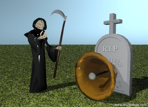 Input text: death is next to the huge bell. the bell is facing down. death is facing the bell. the big gravestone is two feet behind the bell. the ground is grassy. it is evening.