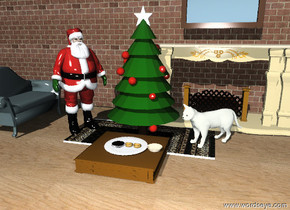 The Santa Claus is to the left of the christmas tree.  The christmas tree is on a  rug.  The rug is on a wooden floor. There is a large plate in front of the christmas tree. The plate is on top of a low table. There are 3 large  cookies on the plate. A bowl  is to the right of the plate. The Santa Claus is facing the plate. A large beige cat is to the right of the christmas tree.   The large cat is facing the plate.  A sofa is 1 foot  to the left of the Santa Claus.  The sofa is facing the Santa Claus.     A 35 foot long wall is 3 feet behind the christmas tree.  The wall is matte.  The wall is 12 feet high. The wall is brick.   The wall contains a fireplace behind the cat. The fireplace is 5 feet high. A mirror is 1 foot above the fireplace.  The mirror is 5 feet wide.
