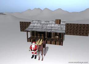Santa Claus is beside the brown elk, on the very tall snow mountain range. 10 feet behind santa, there is a cabin. The cabin has a brick texture. The roof of the house is shingles. A brick wall is 2 feet behind the house. It is 50 feet wide.