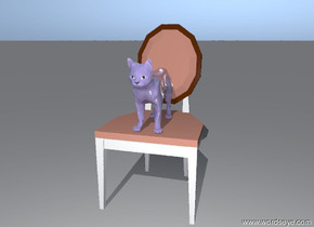 the shiny mauve cat is on the chair.
