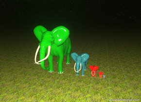 The green giant elephant is on the ground. The acid green big elephant is to the right of the green giant elephant. The red elephant is to the right of the acid green big elephant. The super red small elephant is to the right of the red elephant. The mauve tiny elephant is to the right of the super red elephant. The ground is grass. It is night.