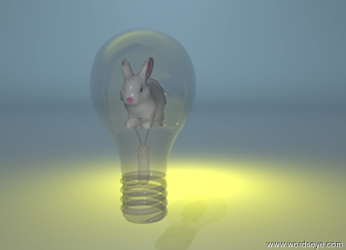 Input text: the gigantic clear lightbulb is 2 feet above the shiny white ground. the very large bunny is -3 foot above the lightbulb. the giant bright yellow illuminator is 10 feet behind the bunny. the sky is shiny black and reflective