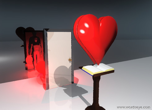 Input text: there is a large reflective door on the shiny white ground. the sky is shiny black. the giant pedestal is 10 feet in front of the door. there is a giant heart 1 inch  above the pedestal. there is a gigantic black reflective wall 10 feet behind the door. there is a huge red light 5 feet behind the door. there is a large man 1 inch behind the door facing the wall.