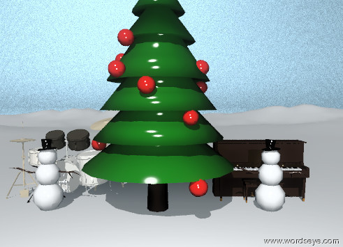 Input text: The white mountain range. Huge tree. The shiny ground is silver. The sky is white marble. There is a 8 foot tall snowman in front of a 7 foot tall piano. The snowman is facing North. The snowman is to the right of the tree. The second snowman is to the left of the tree. The second snowman is 8 feet tall. There is a 10 foot tall drum in back of the snowman. The snowman is facing North.