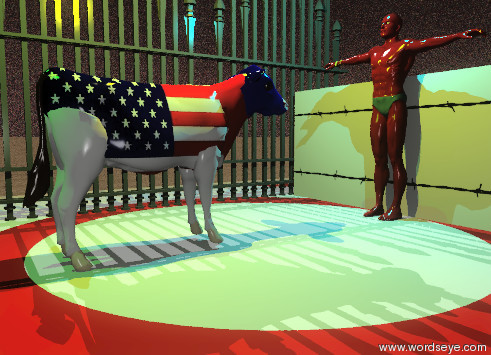 Input text: The cow is white. The cow's head is blue. The cow's body is american flag. The cow's neck is red. The 4 foot tall swimmer is next to the cow. The swimmer is facing the cow. The cow is facing the swimmer. The cow is two feet away from the swimmer. The sky is a texture. The swimmer is soviet. The fence is 3 feet in front of the cow. There is another fence next to the fence. There is a very small wall next to the swimmer. The wall is facing the swimmer. The wall is a texture. The ground is a wood texture. The swimmer is on a mat. The cow is on the mat. The yellow illuminator is 2 feet above the cow. The white illuminator is dim. The green illuminator is 3 feet from the yellow illuminator. The cyan illuminator is 3 feet from the yellow illuminator and 6 feet from the green illuminator.