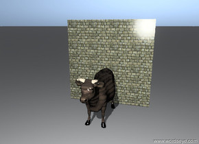 the animal has a wood texture. the animal is in front of the brick wall.