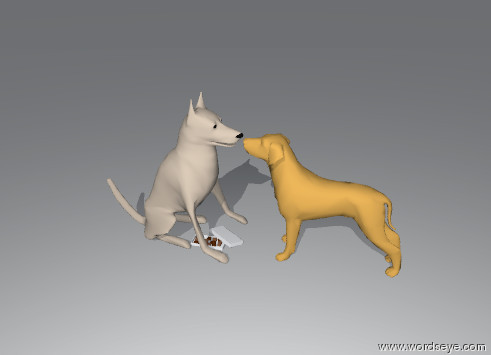 Input text: a first dog is facing a second dog. the second dog is facing the first dog. the first dog is matte. the second dog is unreflective. candy is next to the second dog.