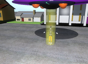 The UFO is 10 feet above the ground. The man is  4 feet below the UFO. The yellow glass cylinder is 0 feet below the UFO. the yellow glass cylinder is 10 feet tall and 3 feet wide. The ground is concrete. A row of 10 houses is 20 feet behind the man