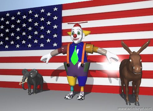 Input text: the american wall. The clown is 1 foot in front of the wall. the donkey is to the right of the clown. the tiny elephant is to the left of the clown.