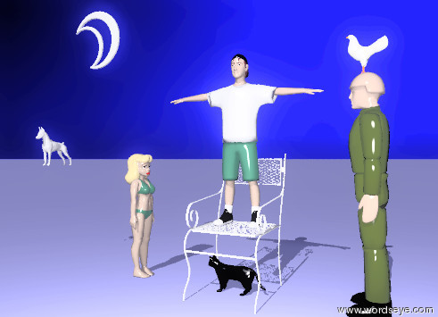 Input text: the boy is on the chair. the ground is pale blue. the sky is dark blue. the man is facing the boy. the man is 2 feet to the right of the chair. the girl is facing the chair. the girl is 2 feet to the left of the chair. the cat is facing the chair. the cat is below the chair. the bird is above the the man. the bird is facing the chair. the moon is 3 feet above the girl. the bird is 1 foot tall. the moon is 2 feet to the left of the boy. the dog is 2 feet below the moon. the dog is small. the dog is 1 foot to the left of the moon. the dog is white. the cat is black. the cat is facing the dog. the cat is 1 feet tall.