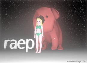 it's night. the giant brown bear is behind the pink girl. the raep is next to the girl